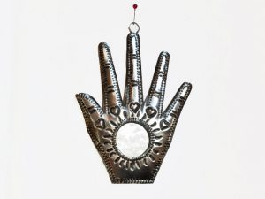Hamsa Hand, Tin Wall Plaque w/round mirror