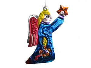 Angel Kneeling with Star, punched tin ornament