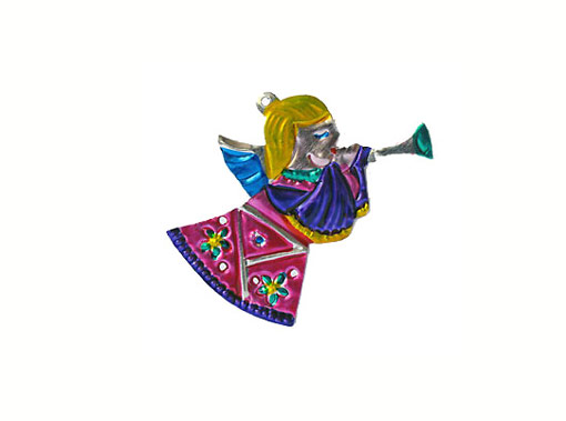 Angel Child, Mexican tin Christmas ornament
