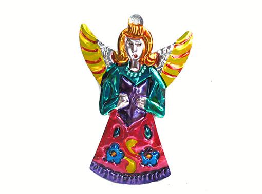 Angel w/Choir Book, Mexican tin ornament