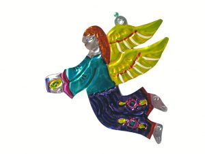 Angel Flying, punched tin Christmas ornament