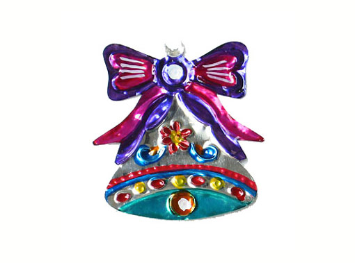 Bell with Ribbon, Mexican tin Christmas ornament