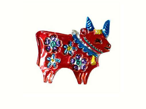 Bull, painted tin, flat ornament