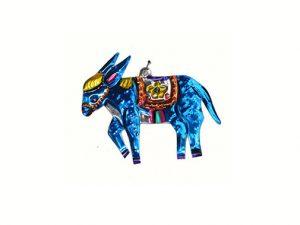 Burro, painted tin ornament, blue