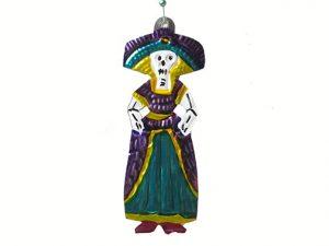 La Catrina, Mexican tin figure, 4.5-inch