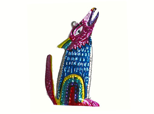 Coyote, painted tin ornament