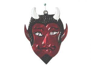 Devil Face, painted tin figure