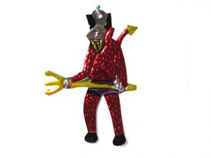 Devil with Pitchfork, Mexican tin figure