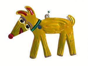 Dog (yellow), tin ornament