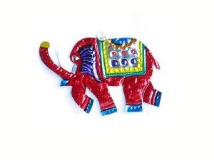 Elephant, painted tin ornament