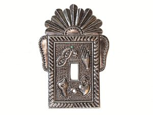 Light Switch Plate w/Milagros, Mexican tin art