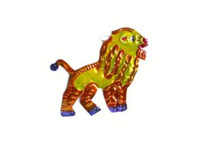 Lion, painted tin ornament