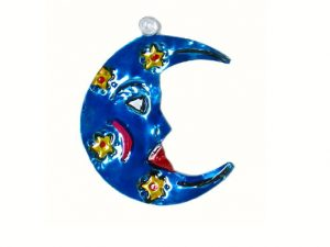 Man in the Moon, painted tin ornament, blue
