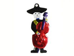 Skeleton Bass Player, tin figure