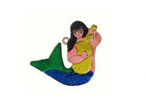 Mermaid Playing Guitar, tin ornament
