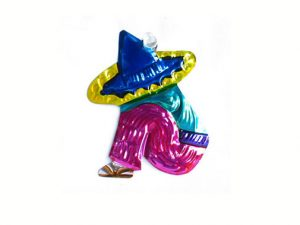 Campesino with Sombrero, painted tin ornament