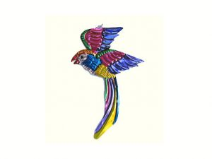 Quetzal, painted tin figure