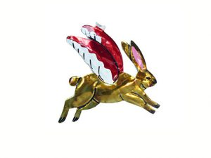 Rabbit with Wings, tin figure