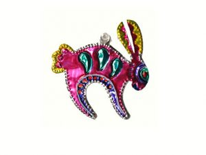 Rabbit, punched tin ornament