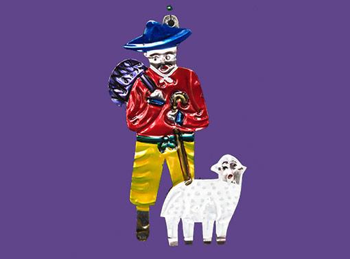 Shepherd and Lamb, Mexican tin art
