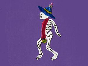 Skeleton Guy with Serape,  Mexican tin ornament
