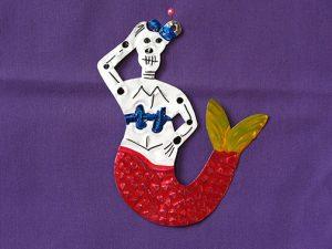 Skeleton Mermaid, tin figure