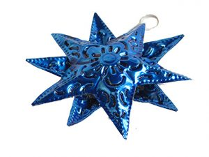 Tin Star Christmas Ornament, blue, 4-inch with 10 points