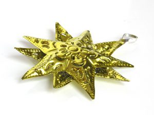 Tin Star Ornament, yellow, 4-inch with 12 points