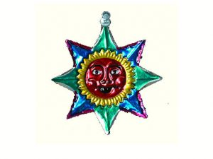 Sun with Red Face, punched tin ornament