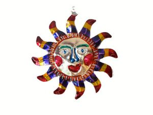 Sun with Smiling Face, pointed rays, Mexican tin ornament