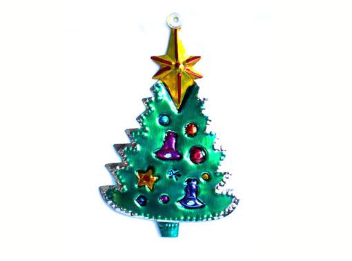 Christmas Tree, Mexican tin ornament, green