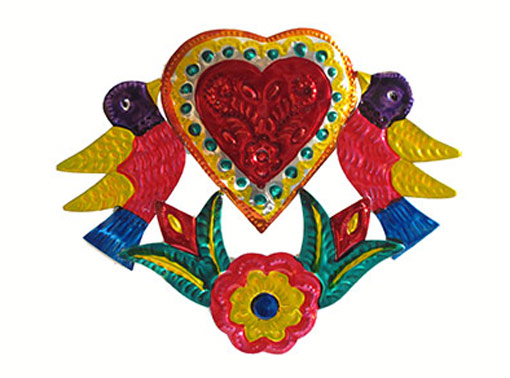 Heart with Birds, Mexican painted tin wall decor