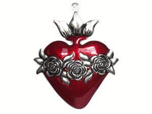 """Tin Heart Ornament, """"Corazón Con Rosas,"""" by Conrado"""