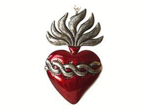 "Tin Heart with Thorns, ""Corazón de Jesús,"" by Conrado, 4.5-inch"