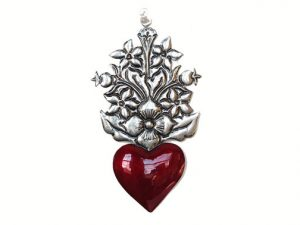 """Tin Heart with Flowers, 'Corazón Con Flores Arriba,"""" by Conrado"""