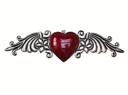 """Tin Heart Wall Art """"Corazón Abundancia"""" (Conrado), 8.5-inch long"""