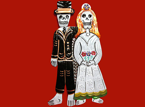 Bride & Groom Skeletons, painted tin wall plaque, 9-inch