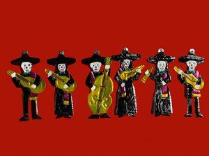Skeleton Mariachi Band, 6 tin figures