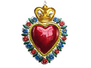 Heart with Crown, tin wall decor, 6-inch tall