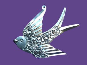 Bird with Cut Flowers, tin wall art, 14-inch