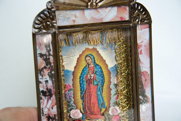 Mexican Tin Nicho, Lady of Guadalupe color print in aged-look frame, 9-inch
