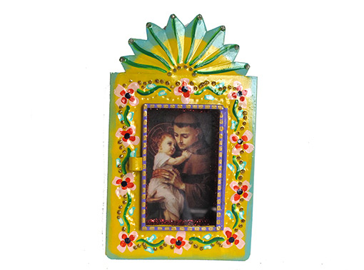 Mexican Tin Nicho, St. Anthony & Jesus in hand-painted, yellow frame, 6-inch
