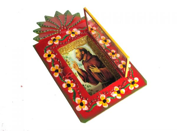 Mexican Tin Nicho, St. Francis image, in hand-painted red frame, 6-inch