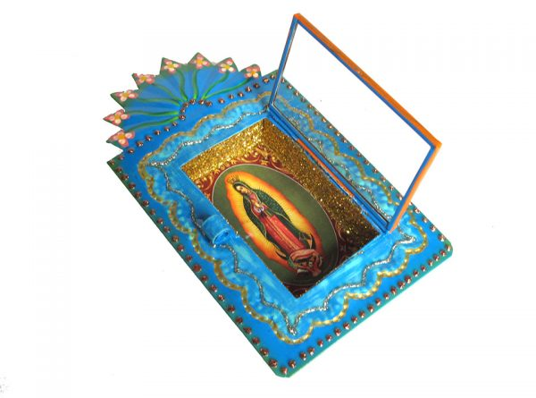 Mexican Tin Nicho, Lady of Guadalupe print, in blue frame, 6 inch