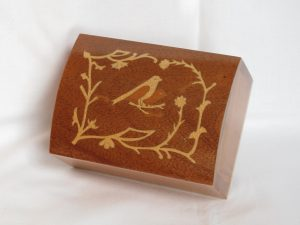 Inlaid Cedar Box with 2 Birds, 4 3/4 inch long