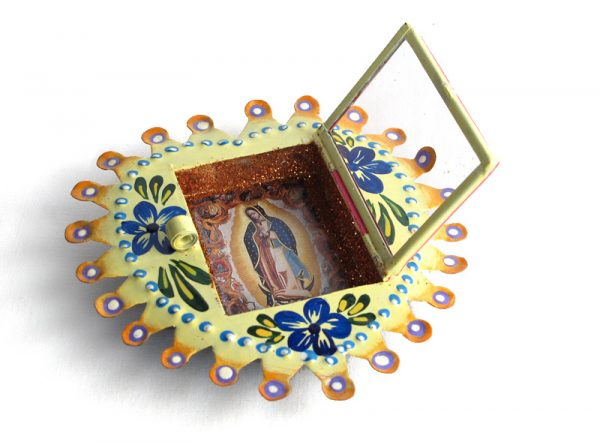 Mexican Tin Nicho, Lady of Guadalupe, in yellow, heart frame, 4.5 inch