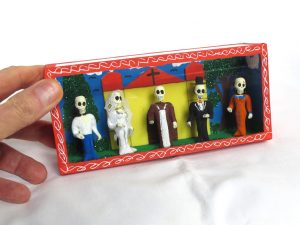 Skeleton Wedding Party Outside Church, Day of Dead diorama box