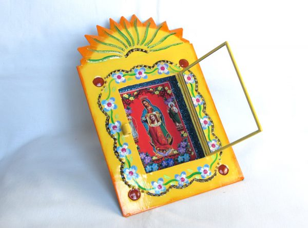 Mexican Tin Nicho, Lady of Guadalupe Holding Shroud print, 8-inch