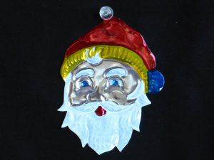 Santa Face, Mexican Tin Ornament
