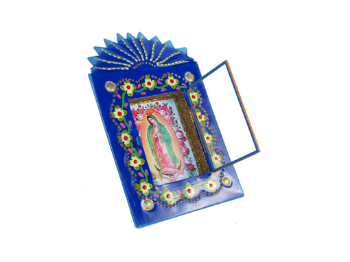 Mexican Tin Nicho, Lady of Guadalupe print, in blue frame, 8-inch